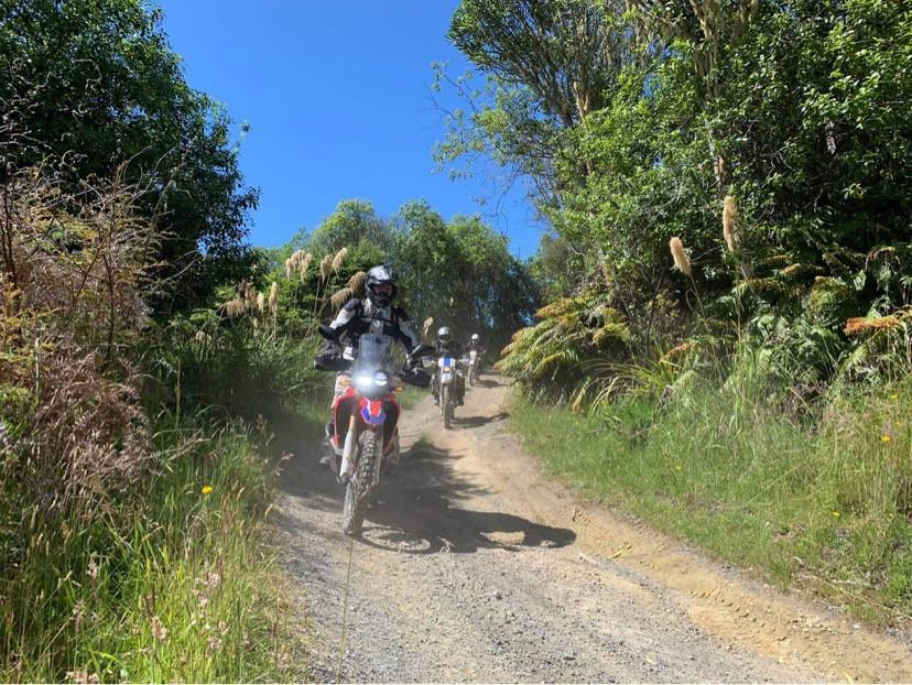Motorcycles riding the 42 traverse trail, Tongariro, New Zealand
