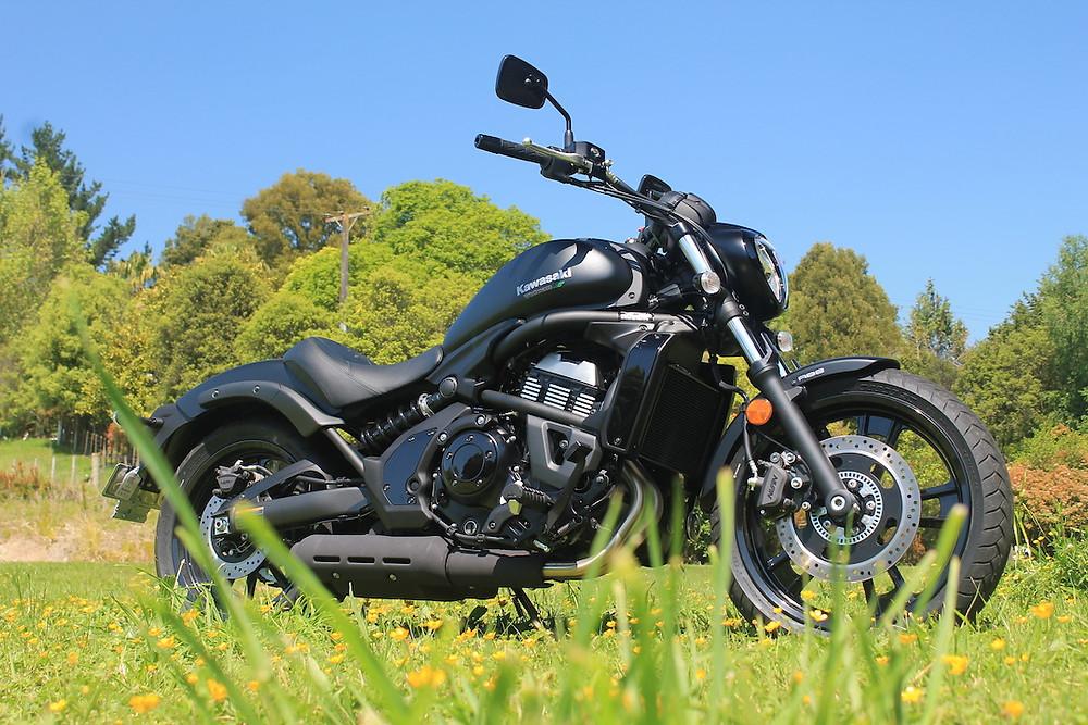 Black Kawasaki cruiser style motorcycle