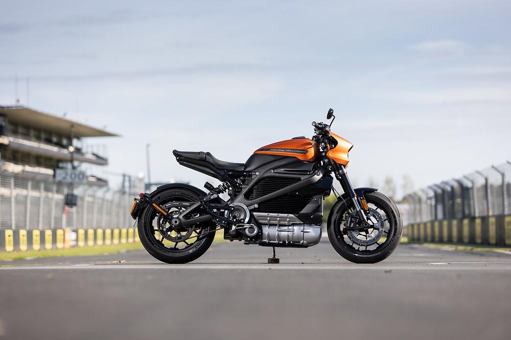 Harley-Davidson Livewire motorcycle. Pilekohe Park Raceway NZ.