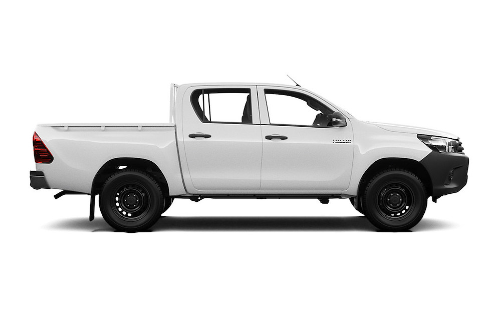 White pickup track with black wheels