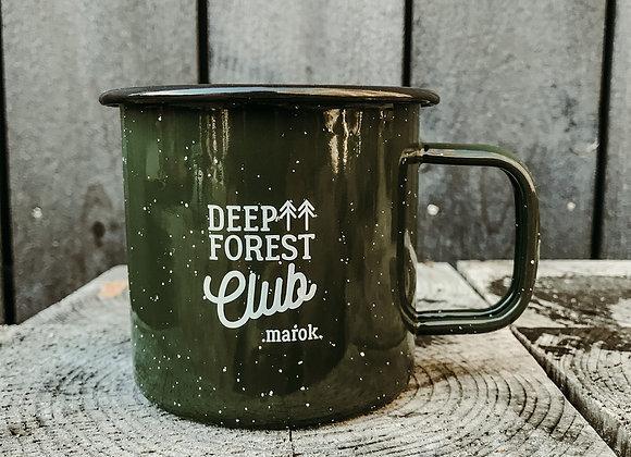 """Emaille-Tasse """"deep forest club"""" grün"""