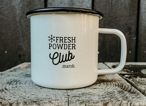 """Emaille-Tasse """"fresh powder club"""" weiß"""