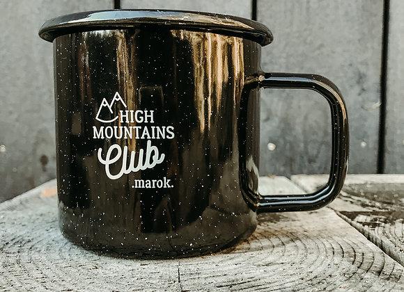 """Emaille-Tasse """"high mountains club"""" schwarz"""