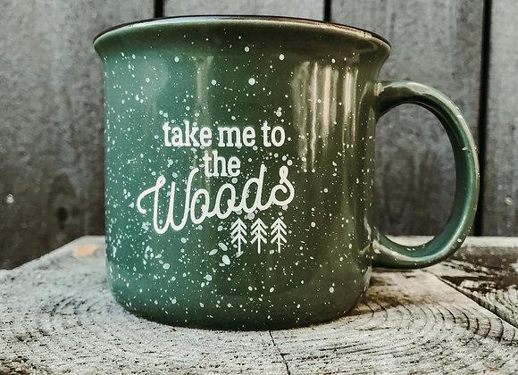 "Keramiktasse ""take me to the woods"" grün"