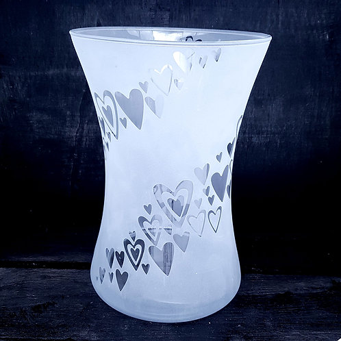 Swirling hearts hand tied vase