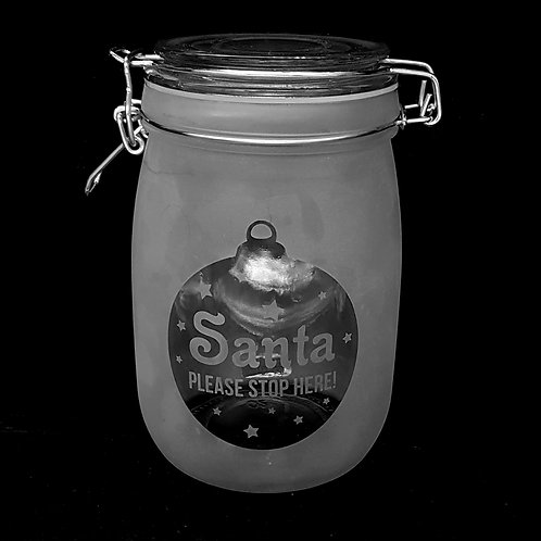 Santa stop here medium jar