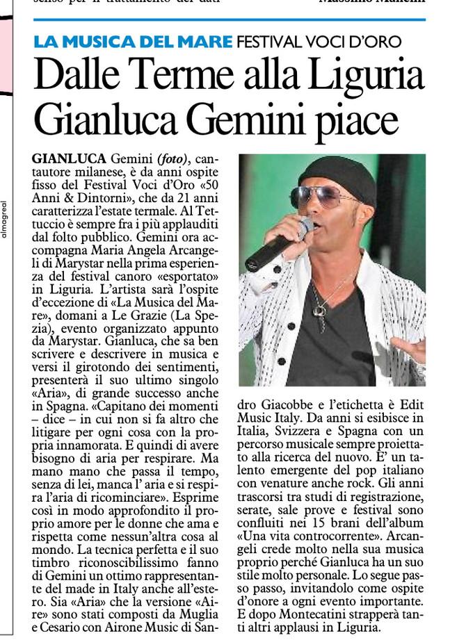 Gianluca Gemini  ospite a La Musica del Mare alle Grazie (SP)