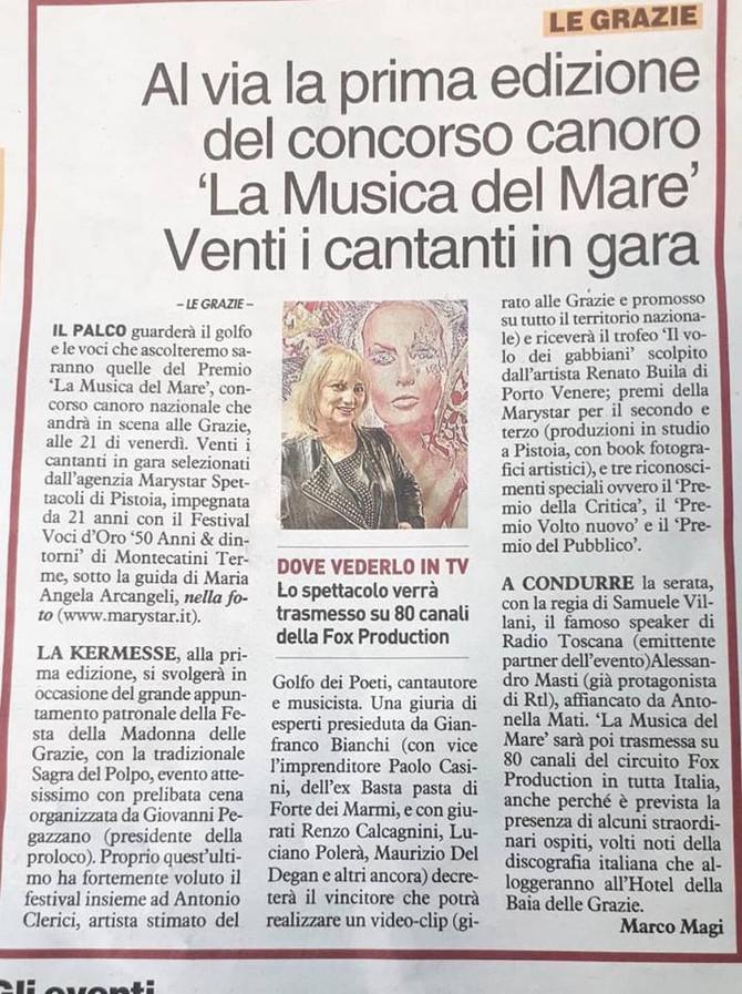 """I giornali parlano de """"La Musica del Mare"""" grazie a La Nazione della Spezia"""