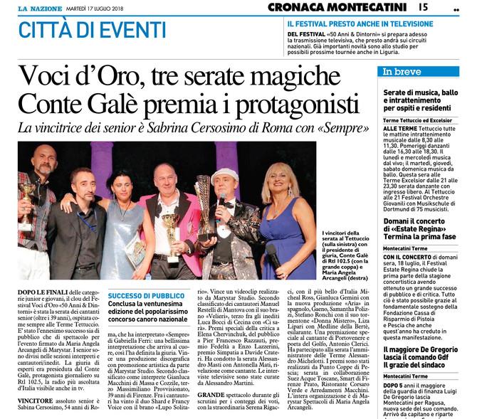 """La Stampa parla della finale Senior del 21° Festival voci d'Oro """"50 anni & dintorni&quo"""