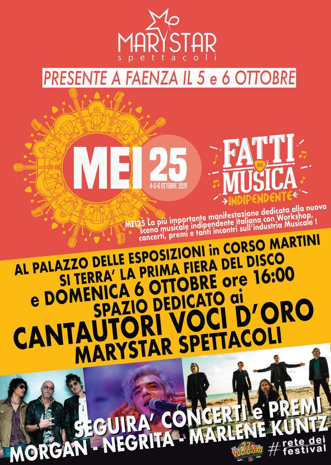 Marystar al MEI di Faenza con cinque cantautori Voci d'Oro