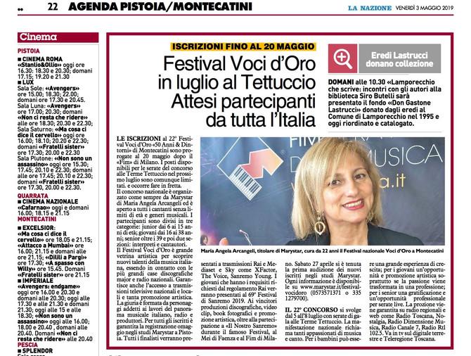 La Nazione ci segue sempre ... 22° Festival Voci d'Oro il via dal FIM di Milano.