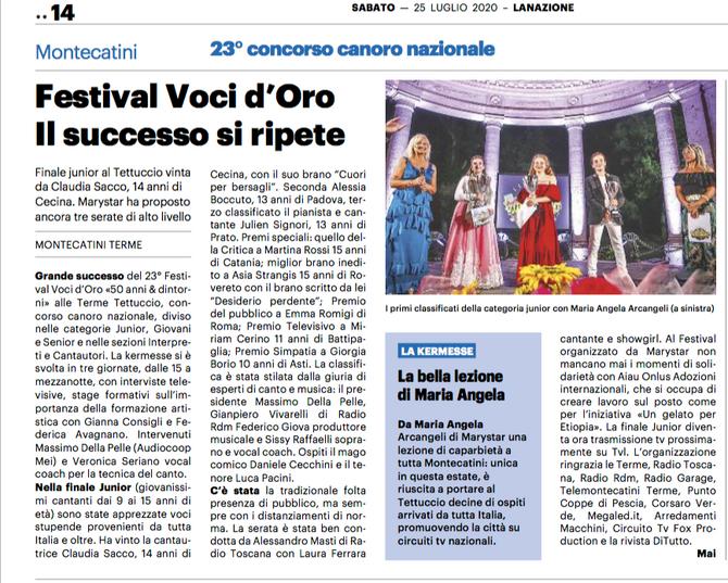 Grazie a La Nazione esce articolo sui Junior del 23° Festival Voci d'Oro 2020