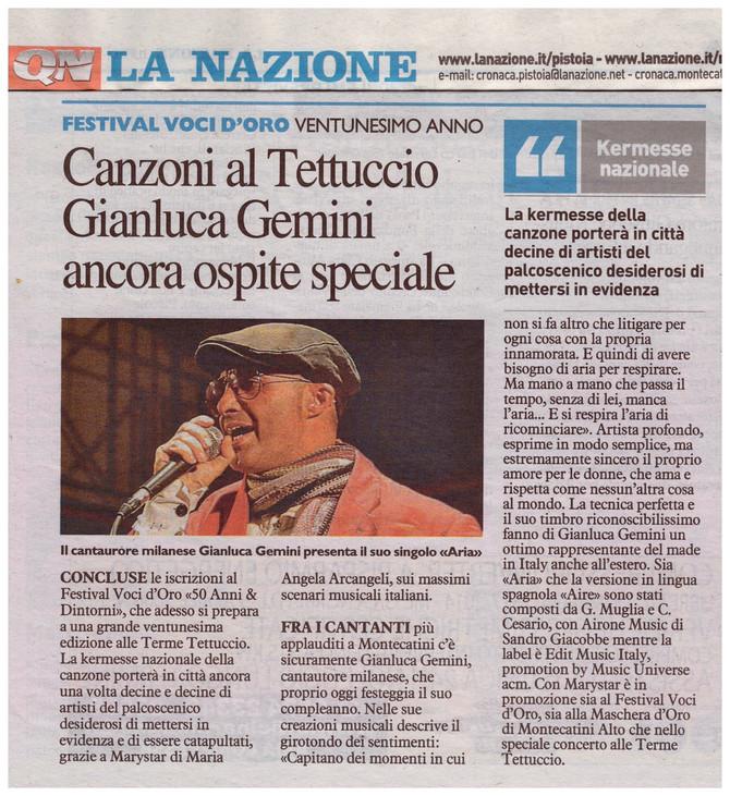 """Uscito """"Aria"""" nuovo singolo di Gianluca Gemini ospite al 21° Festival Voci d'Oro"""