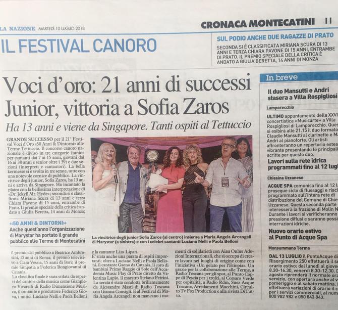 Oggi uscito articolo Vittoria Junior del Festival Voci d'Oro, grazie a La Nazione.