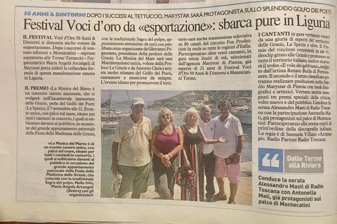 """Uscito articolo su La Nazione in Toscana """"La Musica del mare"""""""