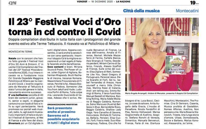 News CD #Vocidorononsiferma 2020... Grazie a La Nazione!!