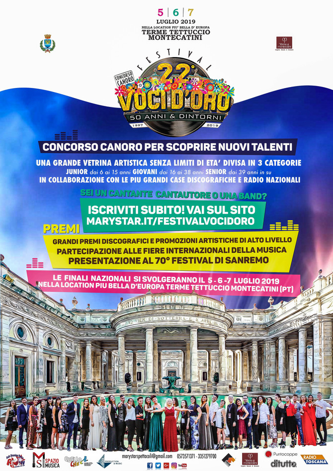 Il Via alle iscrizioni del 22° Concorso canoro Festival Voci d'Oro 2019