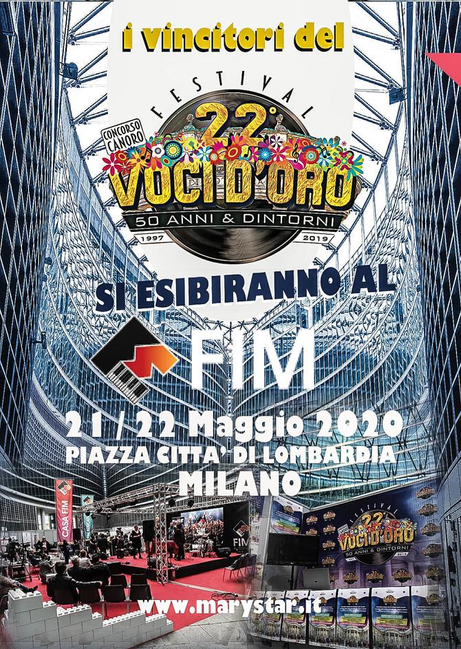 I Vincitori del 22° Festival Voci d'Oro 2019 parteciperanno al FIM di Milano 2020