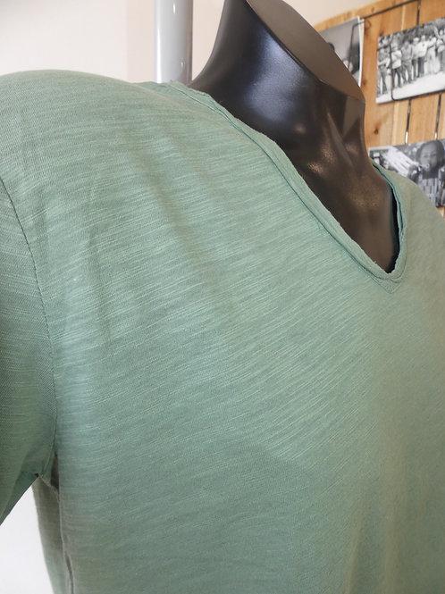 Teeshirt col V uni vert