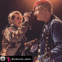 Makeup application on Captain Sensible from the Damned