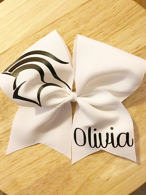 White Mascot & Name Bow