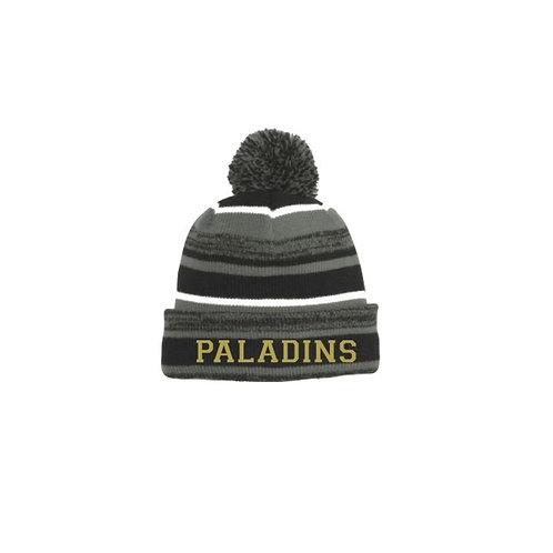 Black and Graphite Knit Pom Pom Hat