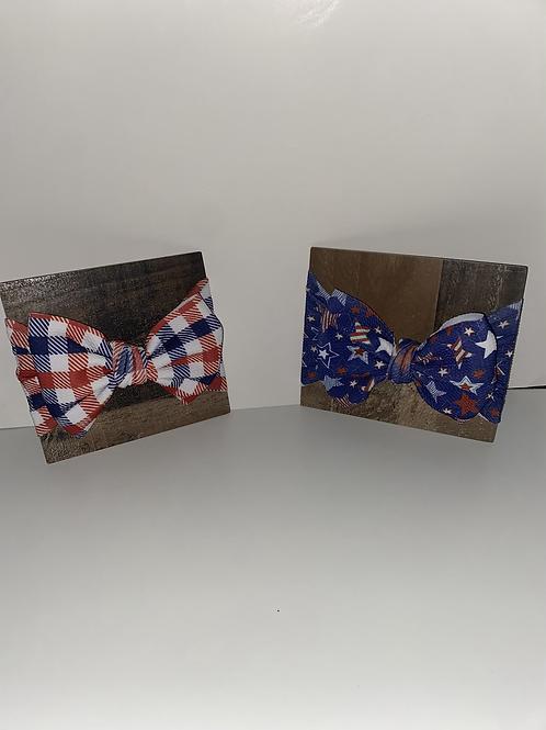 Patriotic bow head wrap