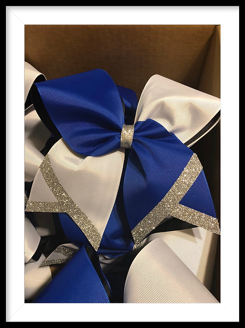 Tick tock cheer bow with glitter tails