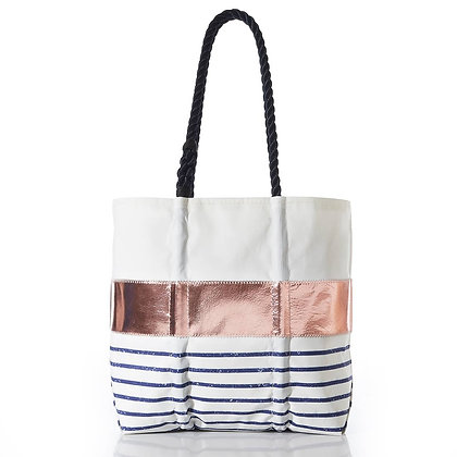 Rose Gold-on-Navy Mariner Stripe Tote by Sea Bags