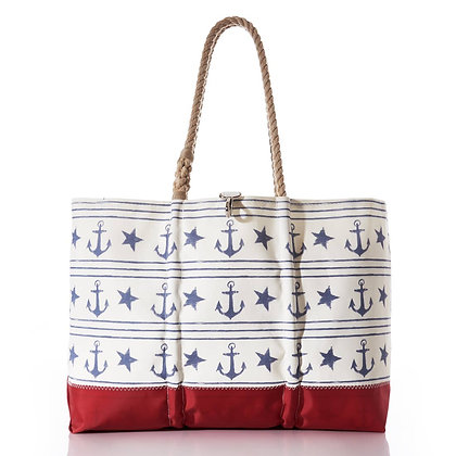 Sailor's Stripe and Star Ogunquit Beach Tote by Sea Bags