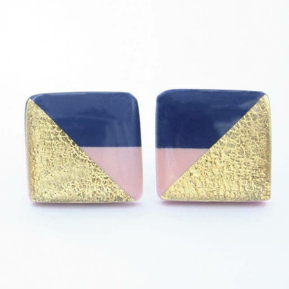 Navy Blue, Pink, & Gold Square Studs
