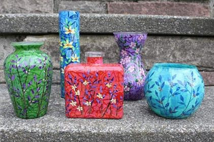 Glass Layered Paper Collage Vases