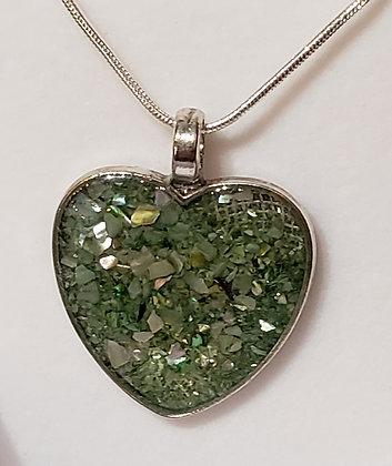 Crushed Shell Heart Pendant