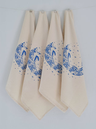 Set of 4 Organic Fox Cloth Napkins