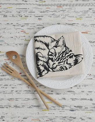 Sleeping Cat Tea Towel
