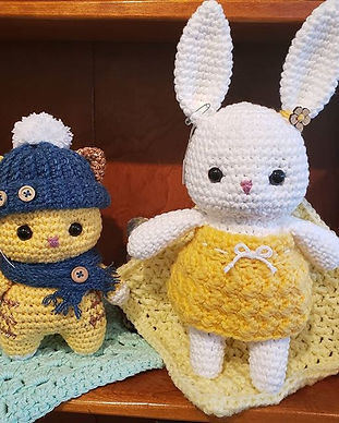 Adorable kitty and bunny with removable