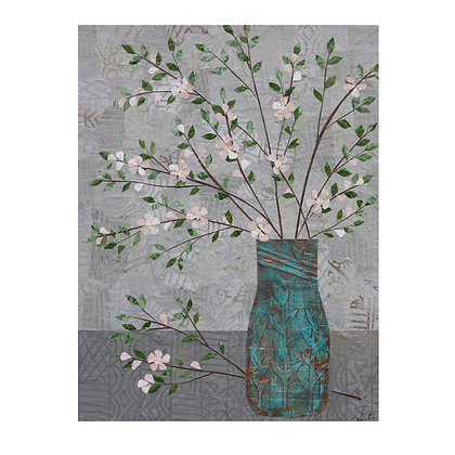 Apple Blossoms in Turquoise Vase