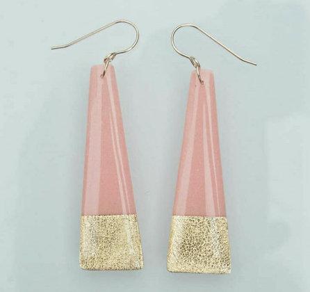 Long Pink & Gold Earrings