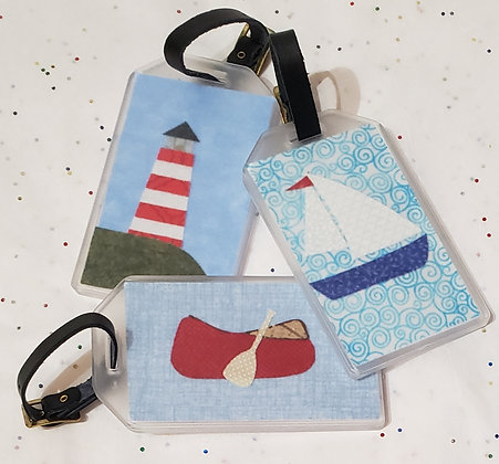 Fabric Collage Luggage Tags