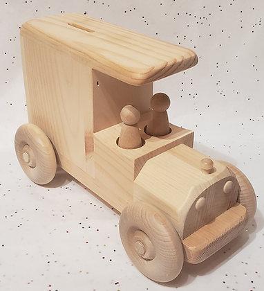 Wooden Toy Milk Truck Bank