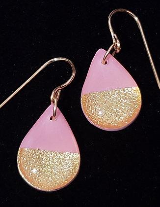 Light Pink & Gold Drop Earrings