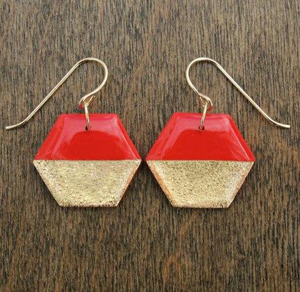Red & Gold Hexagon Earrings