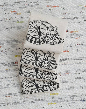 Set of 4 Organic Cat Cloth Napkins