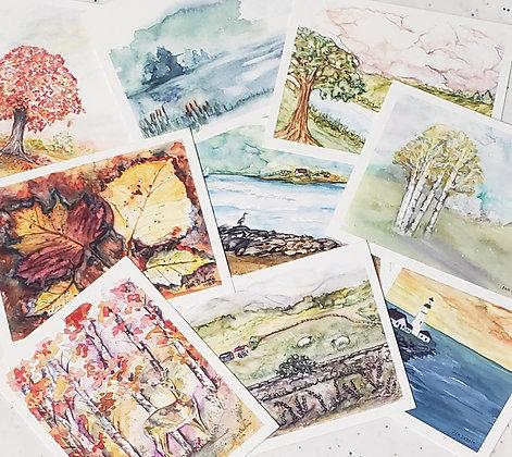 8-pack Watercolor Print Notecards