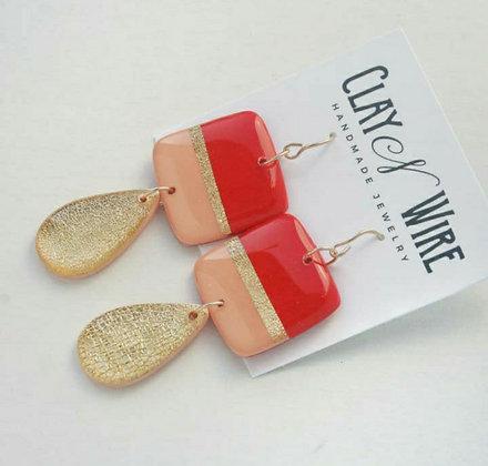 Red, Peach, & Gold Dangle Earrings