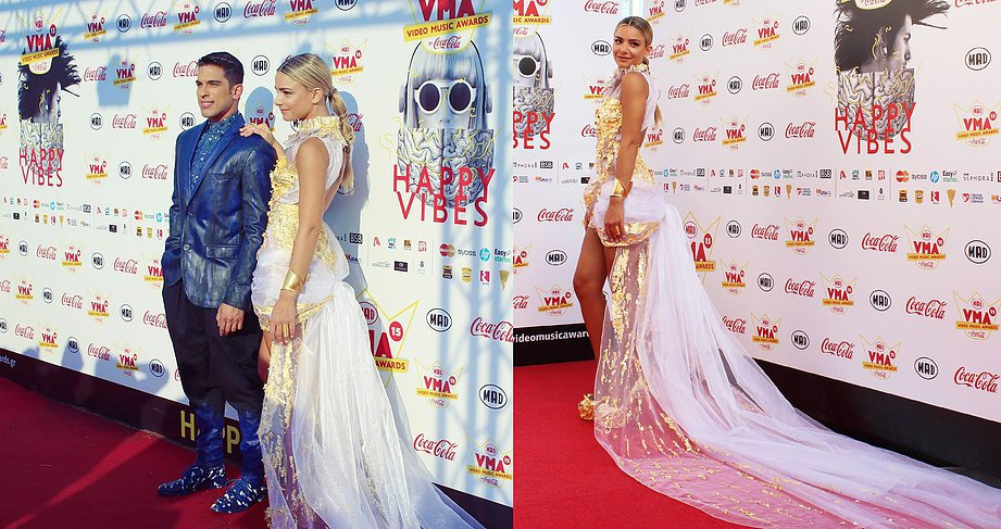 MAD VMA's 2015 RED CARPET: JOSEPHINE WENDEL AND DJ PITSI TOTAL LOOKS BY IOANNIS ROUMELIOTIS