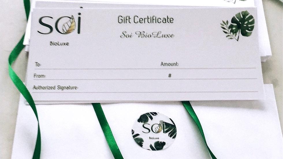Gift Certificate ~Certificat Cadeau