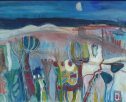Landscape Under a Waning Moon