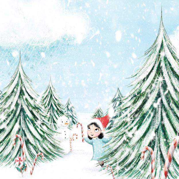 Back cover illustration for 'Dear Santa, Love Floss', written by Natalie Italiano.