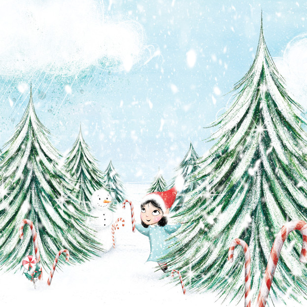 Back cover illustration for 'Dear Santa, Love Floss', written by Natalie Italiano.